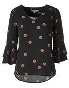 Black Dotted Ruffle Sleeve Blouse, Black, hi-res