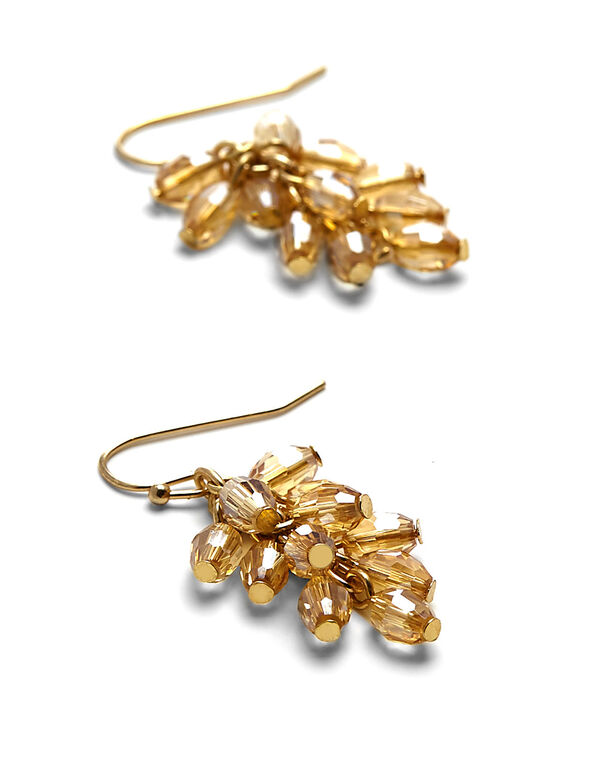 Champagne Beaded Cluster Earring, Champagne, hi-res