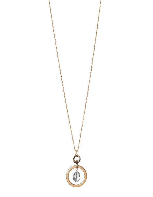 Gold Center Stone Necklace, Gold, hi-res