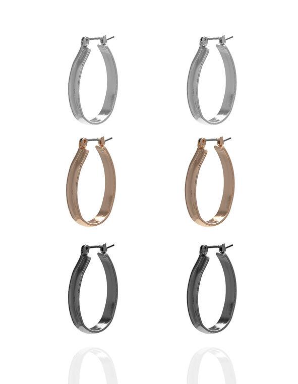 Oval Hoop Trio Earring Set, Silver/Rose Gold/Hematite, hi-res