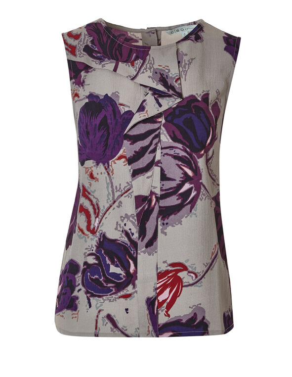 Floral Ruffle Front Blouse, Oat Mix/Purple/Claret/Red, hi-res