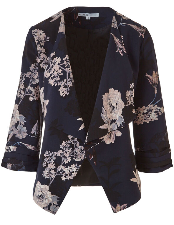 Navy Floral Crepe Blazer, Navy, hi-res