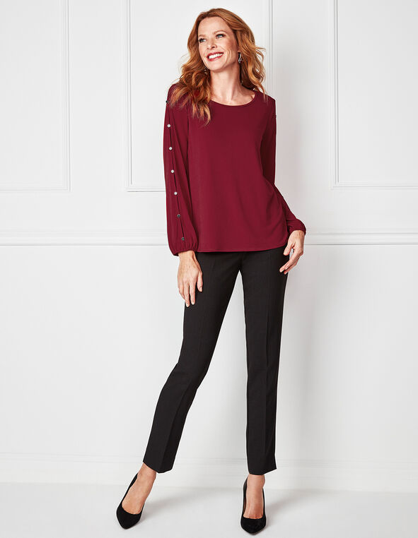 Red Button Open Sleeve Top, Red, hi-res