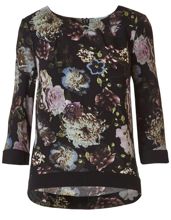 Black Floral Crepe Blouse, Black, hi-res