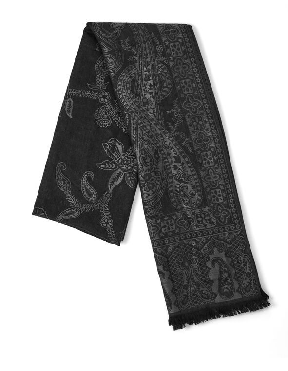 Black Floral Pashmina, Black, hi-res