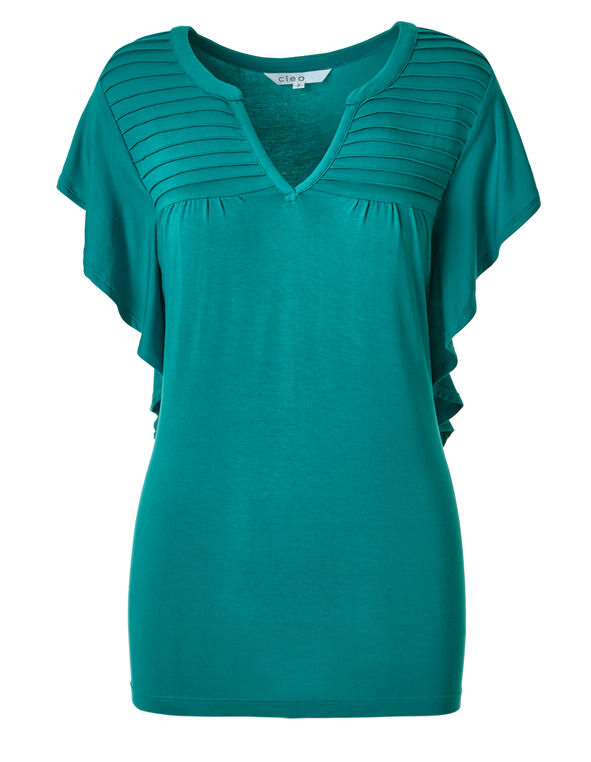Turquoise Flutter Sleeve Top, Turquoise, hi-res