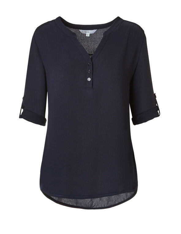 Navy Roll Sleeve Blouse, Navy, hi-res