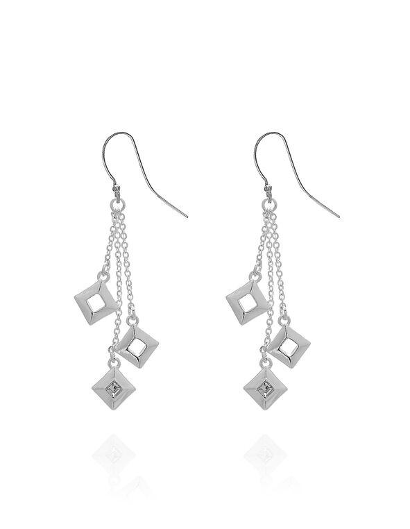 Silver Geometric Fringe Earring, Silver, hi-res