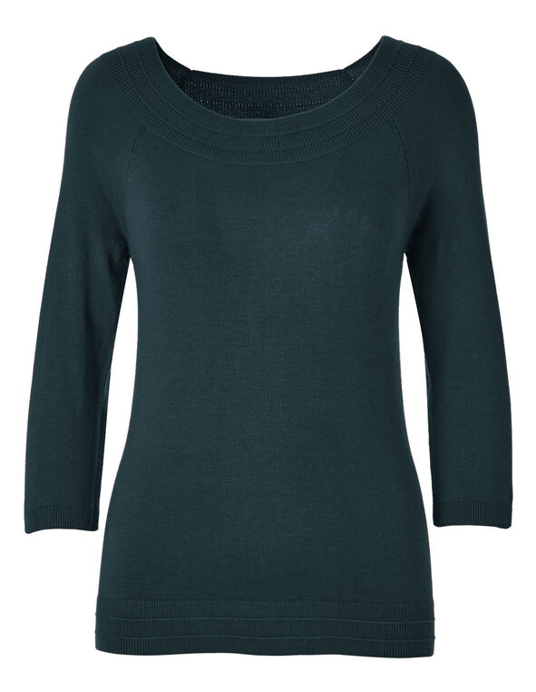 Teal Pullover Sweater, Teal, hi-res