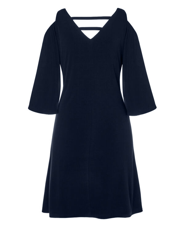 Navy Cold Shoulder Dress, Navy, hi-res