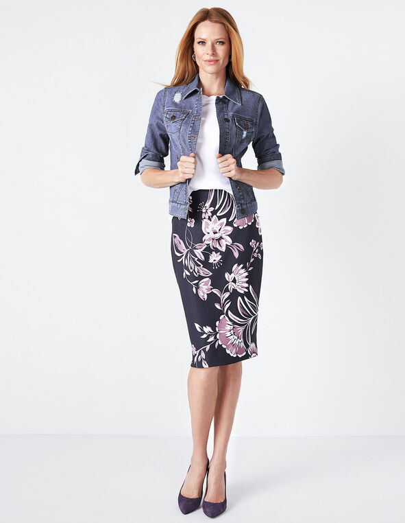 Navy Floral Pencil Skirt, Navy Print, hi-res