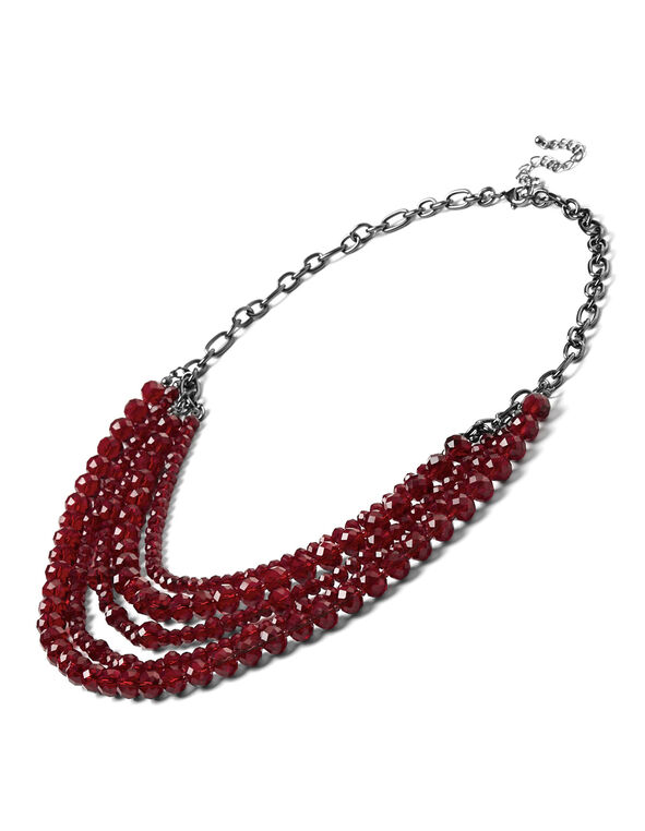 Dark Red Faceted Bead Necklace, Red, hi-res