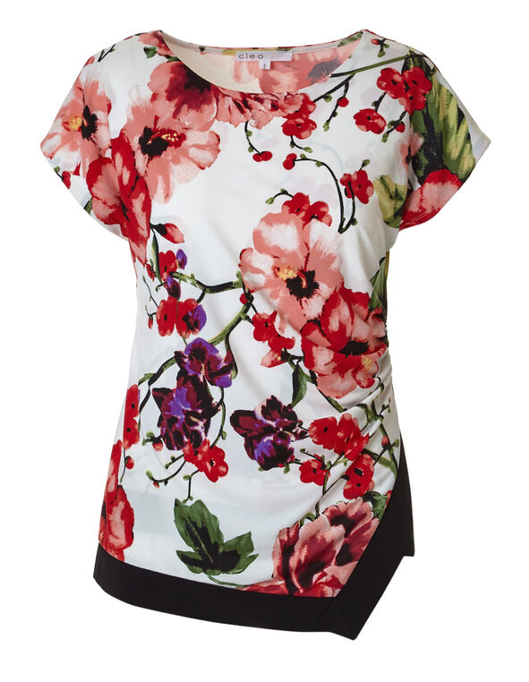 Floral Asymmetrical Hem Top, Ivory Floral, hi-res