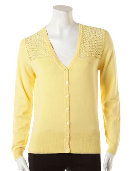 Crochet Shoulder Cardigan, Soft Yellow, hi-res