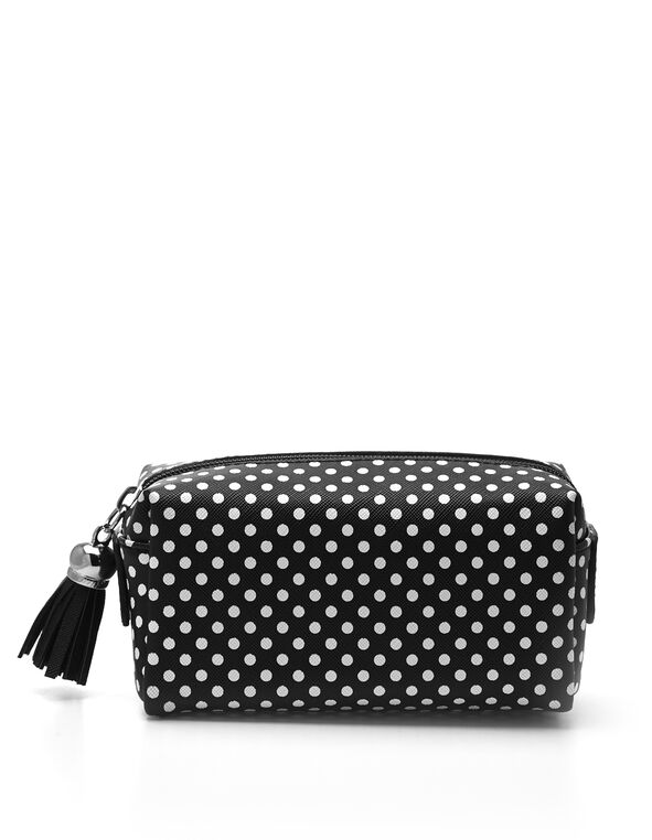 Black Dotted Cosmetic Case, Black, hi-res