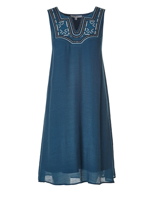 Teal Embroidered Gauze Dress, Teal, hi-res