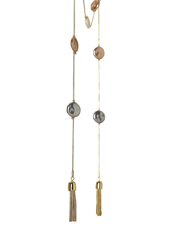 Gold Lariet Pearl Tassel Necklace, Neutral, hi-res
