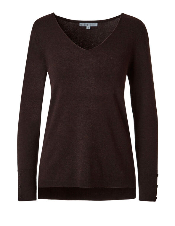 Dark Brown V-Neck Sweater, Dark Brown, hi-res