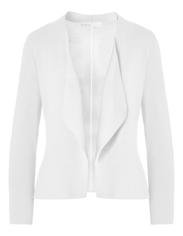 White Crepe Open Mid Cardigan, White, hi-res