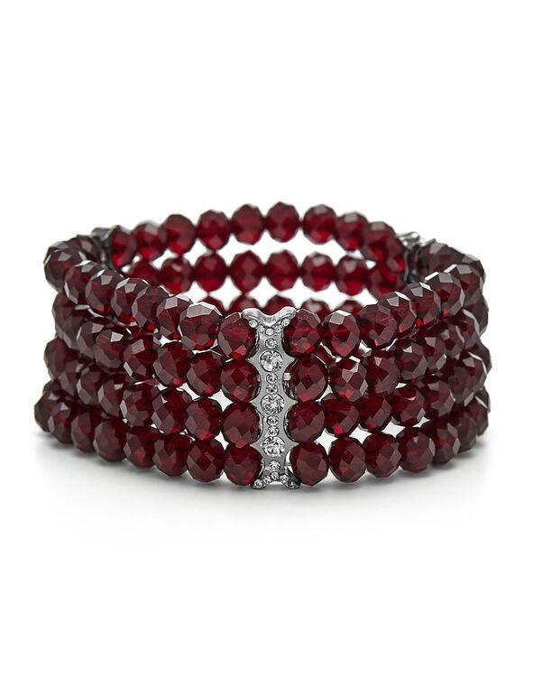 Dark Red Stone Stretch Bracelet, Red, hi-res