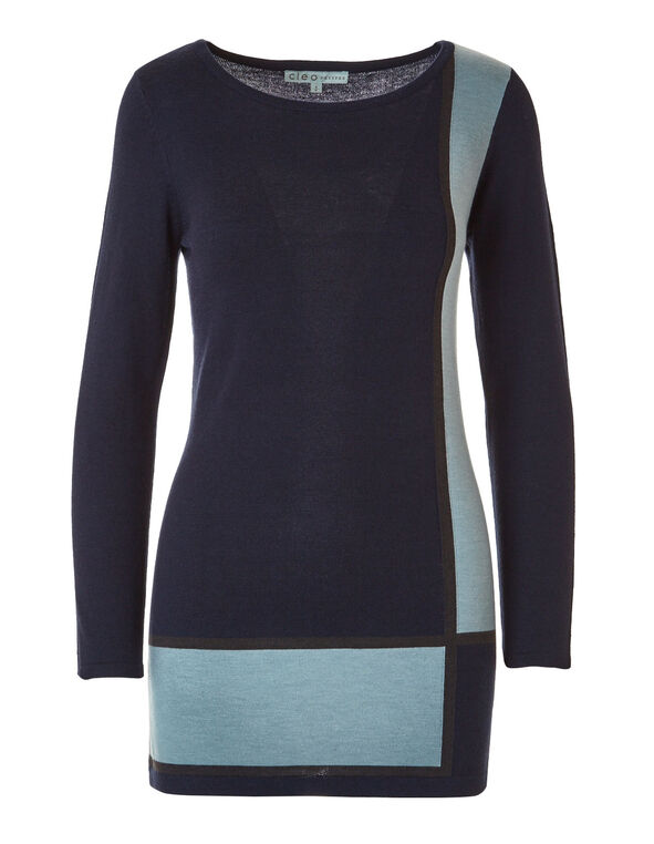 Blue Tunic Sweater, Blue, hi-res