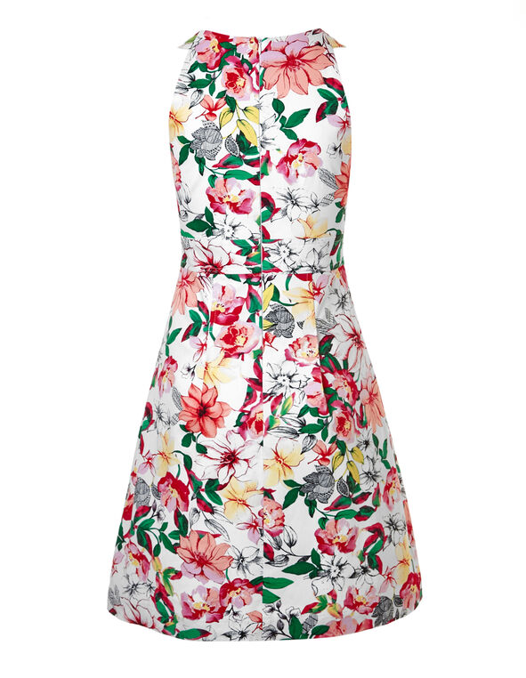 Floral Sateen Twist Dress With Pockets, White, hi-res