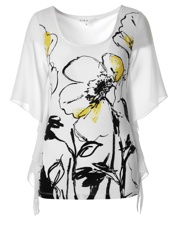 Yellow Printed Chiffon Sleeve Top, Black/Yellow, hi-res