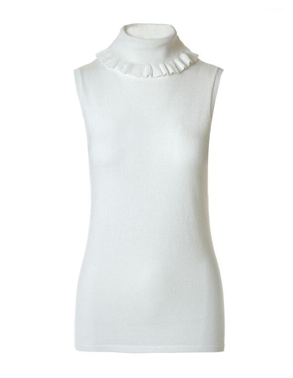 Ivory Ruffled Neck Sweater, Ivory, hi-res