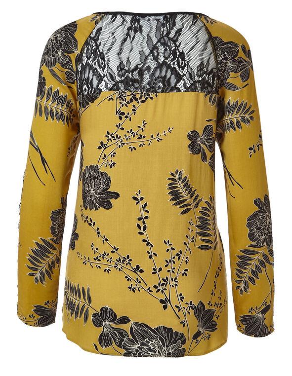 Yellow Printed Peasant Blouse, Yellow, hi-res