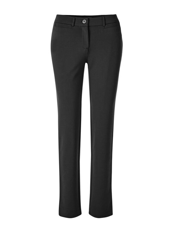 Black Comfort Stretch Slim Pant, Black, hi-res