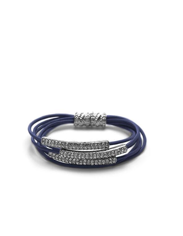 Blue Leather Cord Magnetic Bracelet, Blue, hi-res