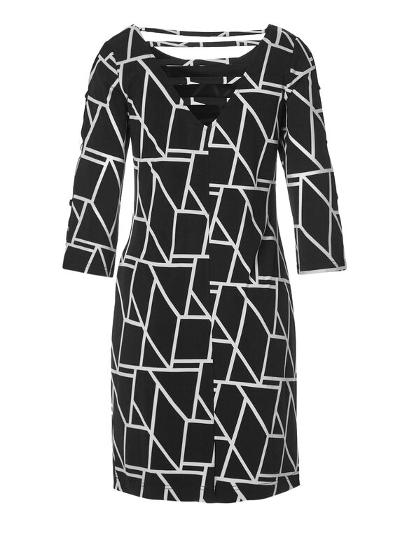 Geo Printed Shift Dress, Black/White, hi-res