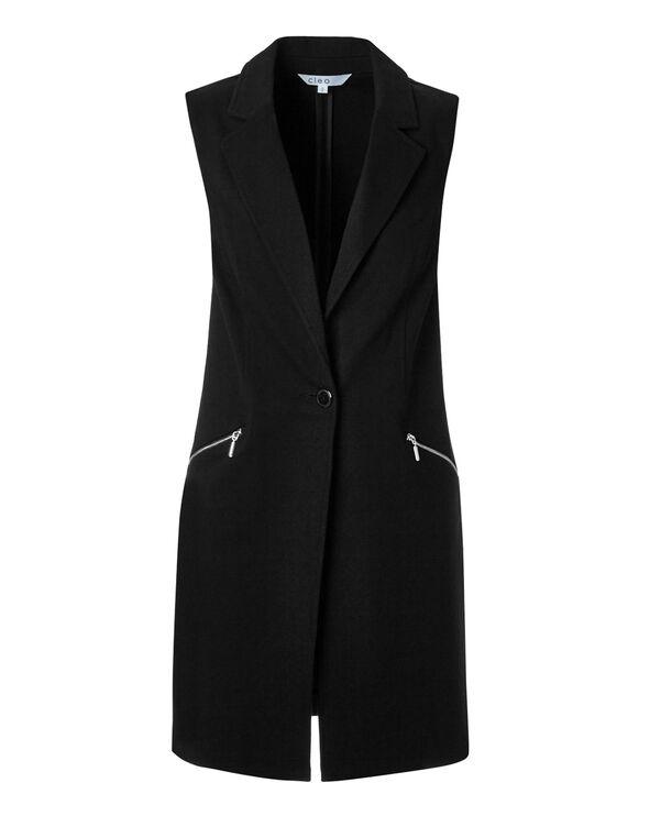 Black Button Front Vest, Black, hi-res
