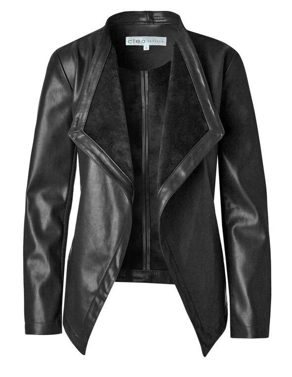 Black Open Faux Leather Jacket, Black, hi-res