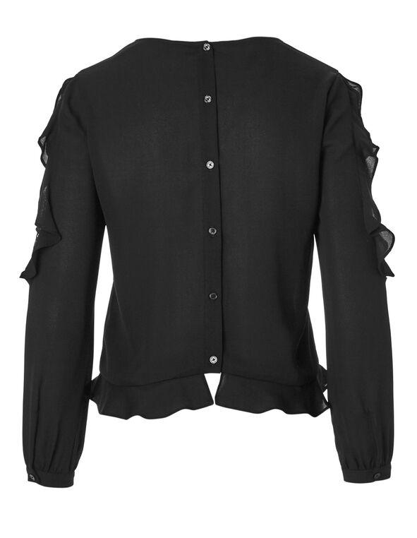 Black Lace Shoulder Ruffle Blouse, Black, hi-res