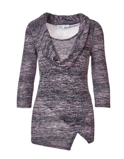 Purple Mixed Knit Fooler Top, Purple, hi-res