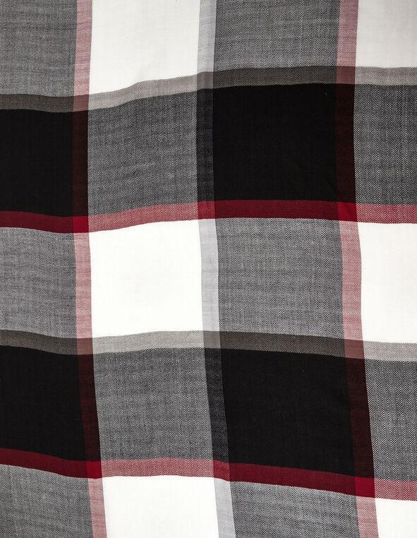Classic Plaid Oblong Scarf, Black/White, hi-res