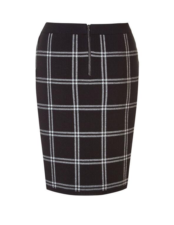 Black Plaid Sweater Pencil Skirt, Black, hi-res