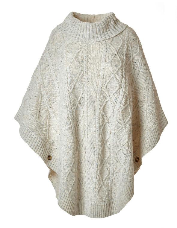 Latte Cowl Neck Poncho Sweater, Latte, hi-res