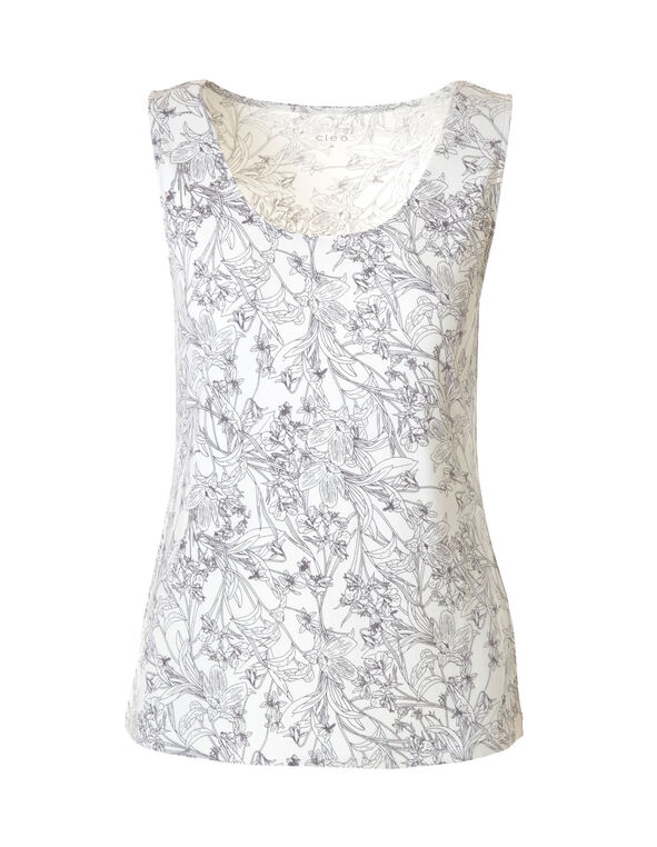 Ivory Print Essential Layering Top, Ivory/Grey, hi-res