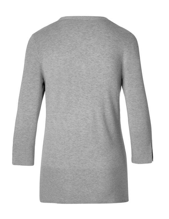 Grey Cross Cross Neckline Sweater, Grey Melange, hi-res