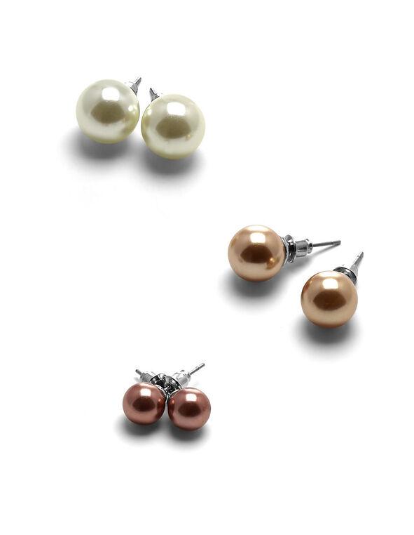 Multi Pearl Earring Set, Pearl/Rose/Copper, hi-res