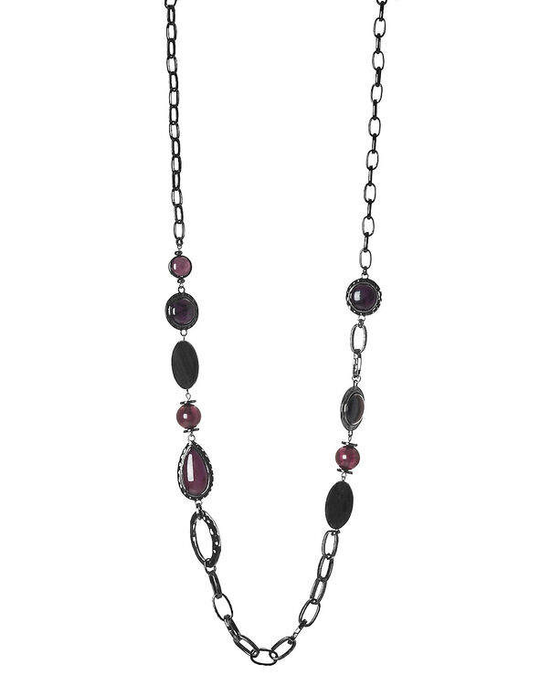 Burgundy Multi Link Necklace, Burgundy, hi-res
