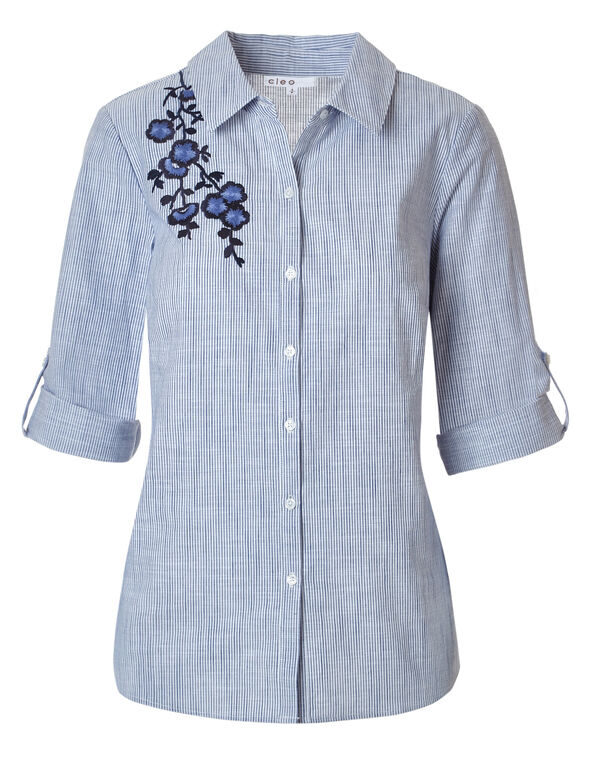 Embroidered Front Button Blouse, Blue Stripe, hi-res