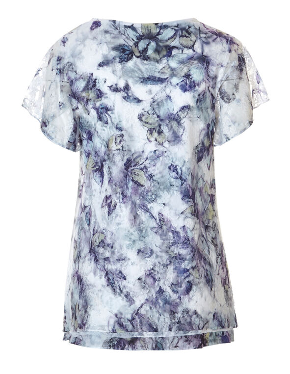 Ink Blue Floral Lace Top, Ink Blue Print, hi-res