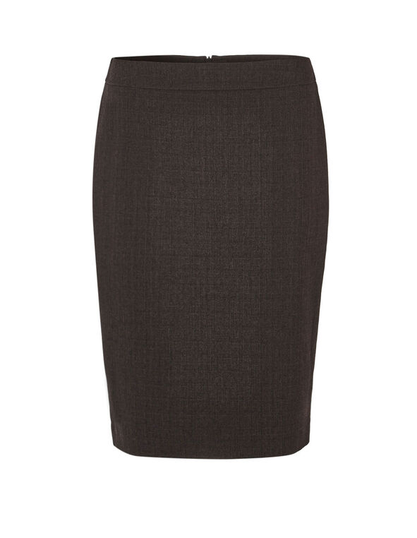 Brown Suiting Pencil Skirt, Brown, hi-res