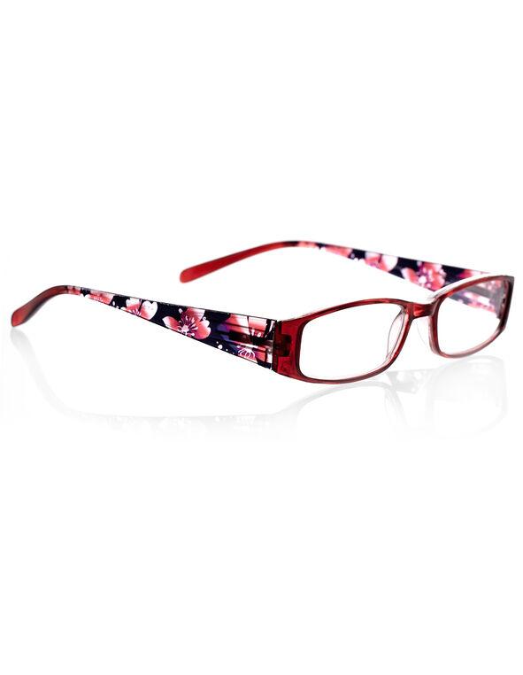Red Floral Print Reader, Red/Black/Purple, hi-res