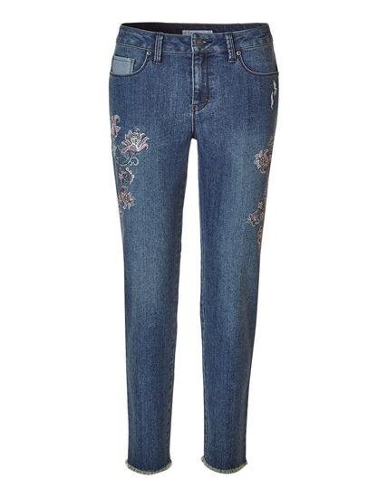 Mid Wash Floral Ankle Slim Jean, Mid Wash, hi-res