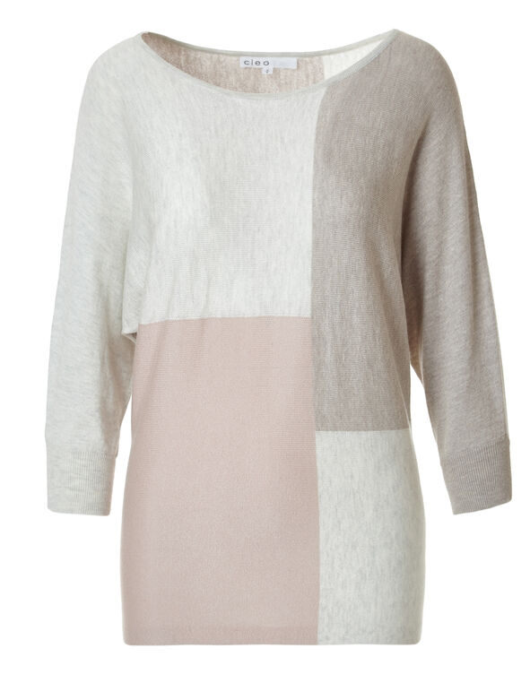 Neutral Colour Block Sweater, Pink/Neutral, hi-res
