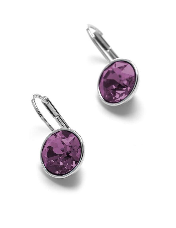 Purple Genuine Crystal Earring, Purple, hi-res